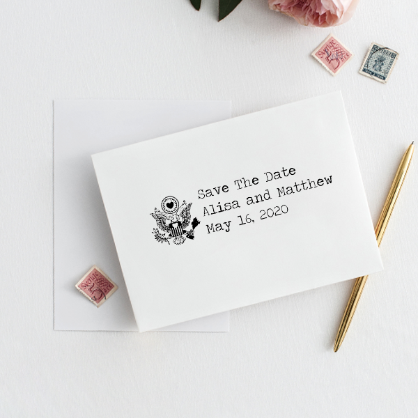Eagle Heart Crest Save The Date Rubber Stamp Imprint Example