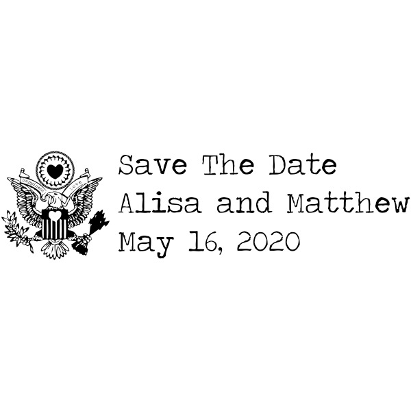 Eagle Heart Crest Save The Date Rubber Stamp