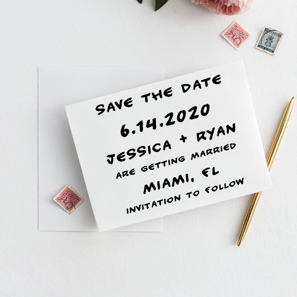 Handwritten Note Save The Date Rubber Stamp Imprint Example