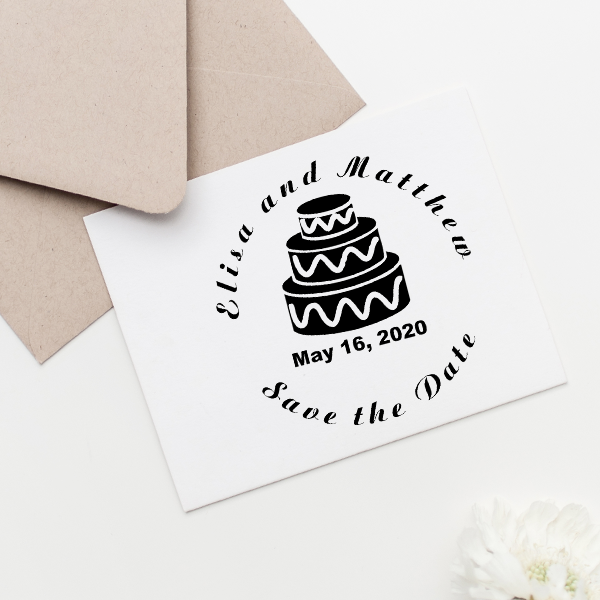 Cake Save The Date Rubber Stamp Imprint Example