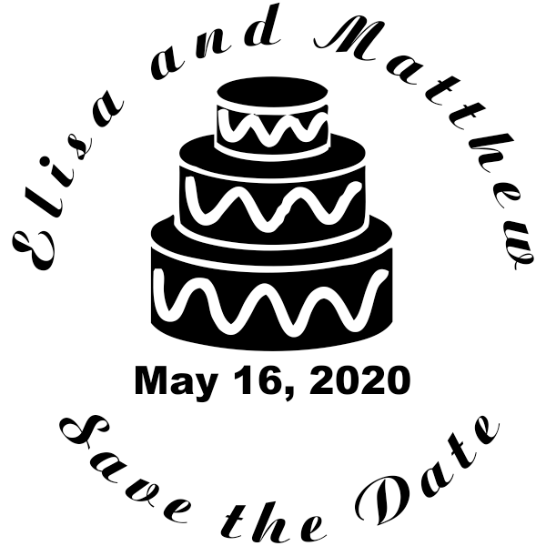 Cake Save The Date Rubber Stamp