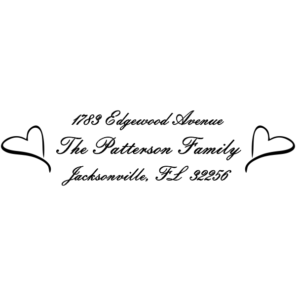 Outlined hearts address stamp