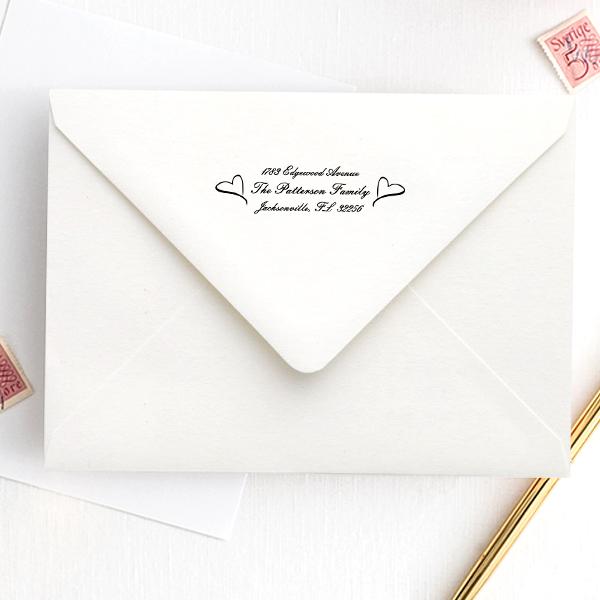 Twin Heart Custom Address Stamp Imprint Example