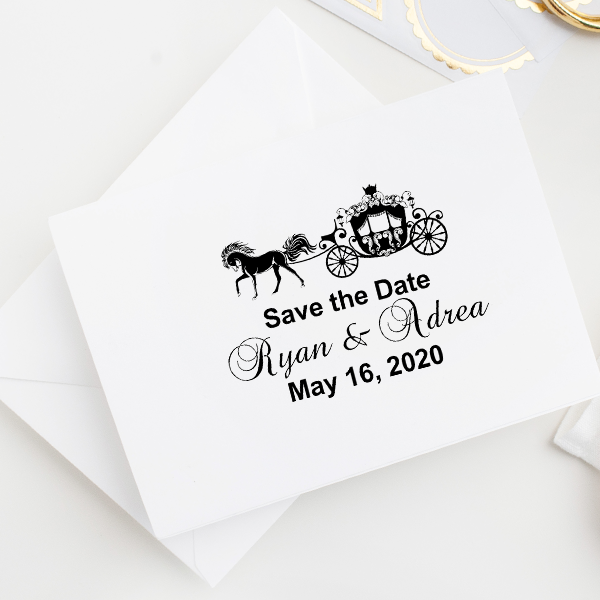 Fairytale Carriage Save The Date Rubber Stamp Imprint Example