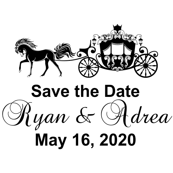 Fairytale Carriage Save The Date Rubber Stamp