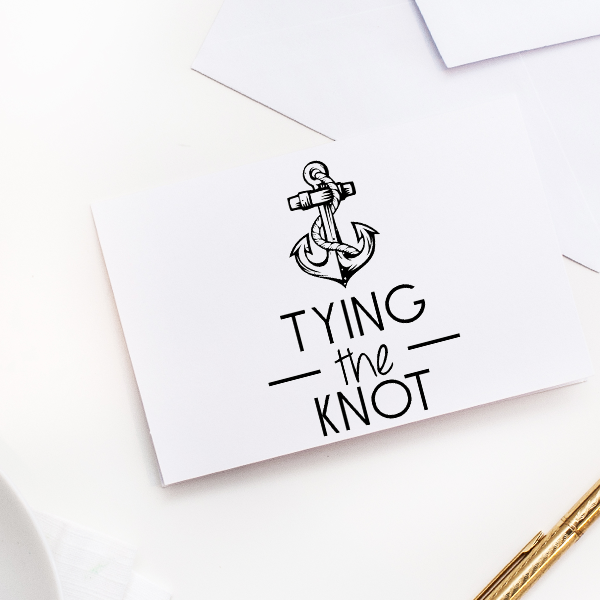 Nautical Anchor Save The Date Rubber Stamp Imprint Example
