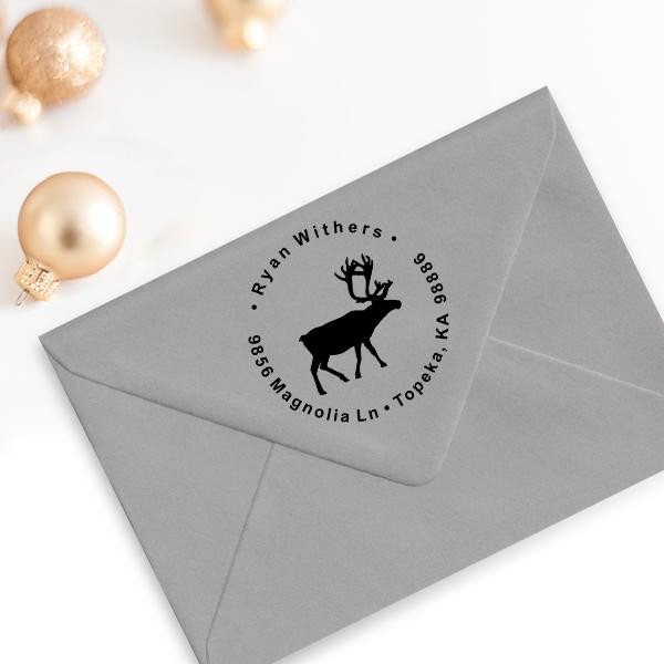 Holiday Reindeer Custom Return Address Stamp Imprint Example