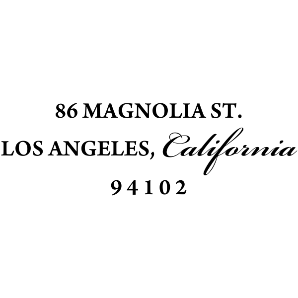 Caligraphy rubber address stamp