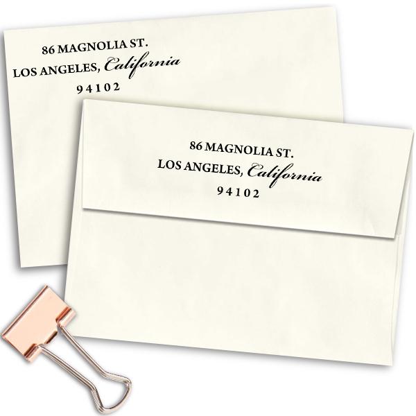 Simple Calligraphy Custom Return Address Rubber Stamp Imprint Example