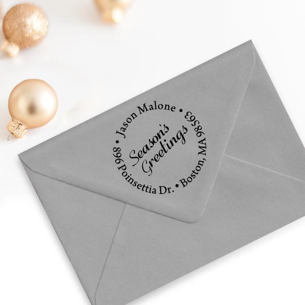 Season's Greetings Holiday Return Address Stamp Imprint Example