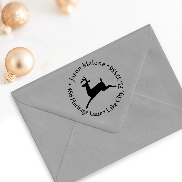 Leaping Reindeer Holiday Return Address Stamp Imprint Example