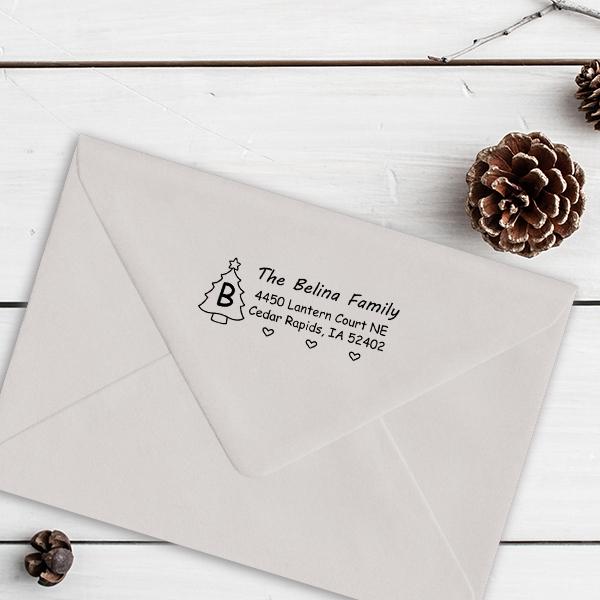 Monogram Tree Holiday Return Address Stamp Imprint Example