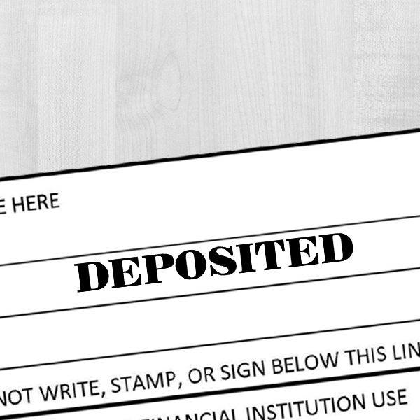 DEPOSITED Mobile Check Deposit Rubber Stamp Imprint Example