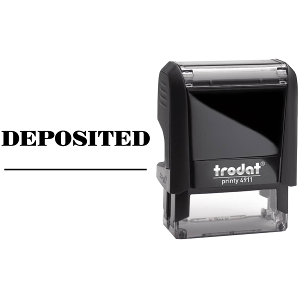 DEPOSITED Date Space Mobile Check Deposit Rubber Stamp Body and Design