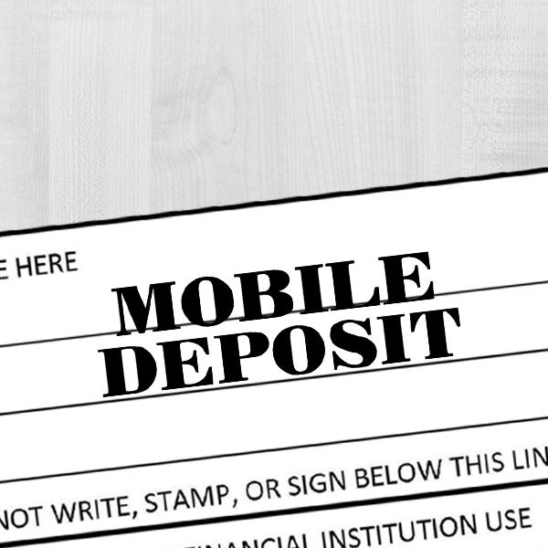 MOBILE DEPOSIT Mobile Check Deposit Rubber Stamp Imprint Example