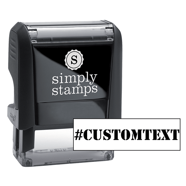 Custom Text Stencil Hashtag Rubber Stamp Body and Design