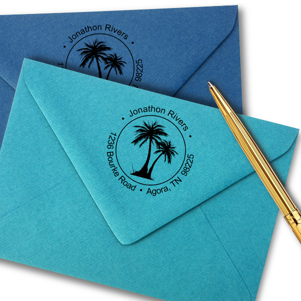 Palm Trees Round Address Stamp Imprint Example