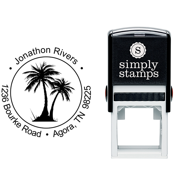 Palm Trees Round Address Stamp Body and Design