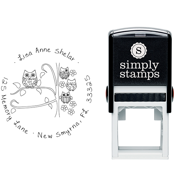 Owl Family Custom Address Stamp Body and Design