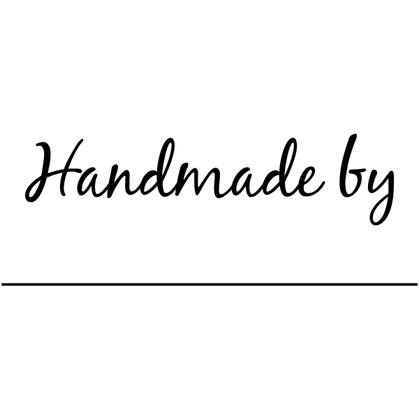 Handmade By Cursive Signature Line Packaging Stamp Imprint Example
