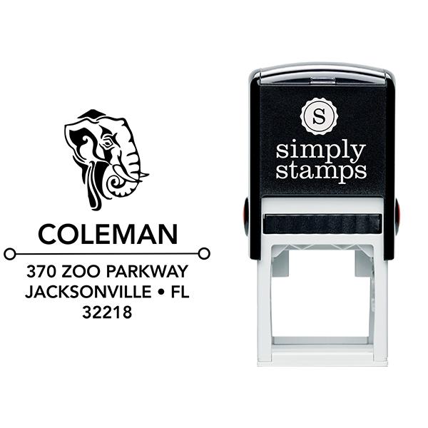 Tribal Elephant Square Address Stamp Body and Design