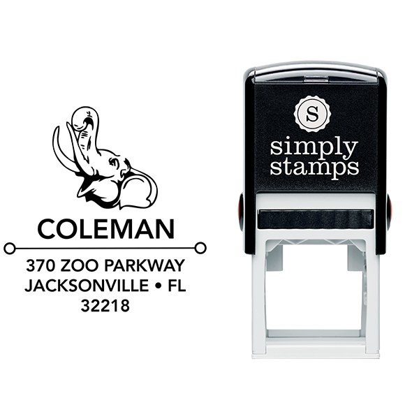 Happy Elephant Square Address Stamp Body and Design