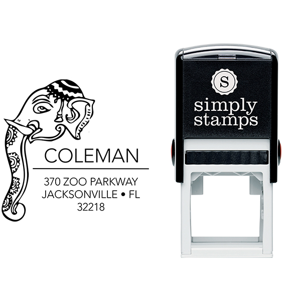 Decorated Elephant Square Address Stamp Body and Design