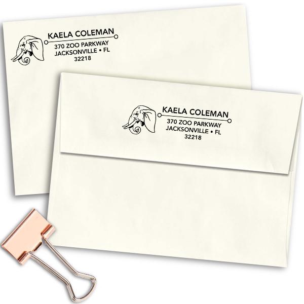 Elephant Head Address Stamp Imprint Example