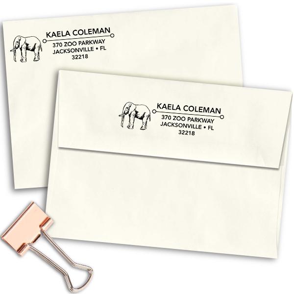 Standing Elephant Address Stamp Imprint Example