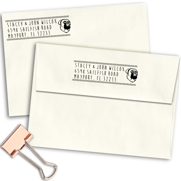 Bullmastiff Dog Address Stamp Imprint Example