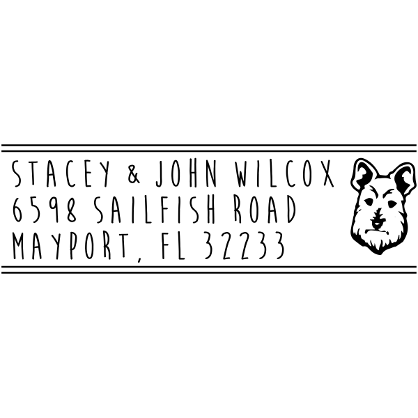 Scottish Terrier Dog Return Address Stamper