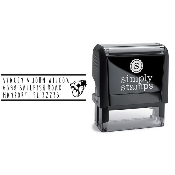 Papillon Dog Address Stamp Body and Design