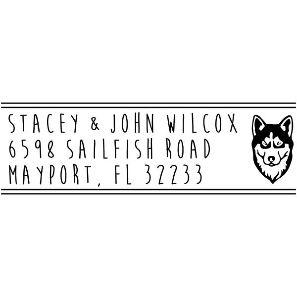 Husky Dog Head Next to Address Stamp
