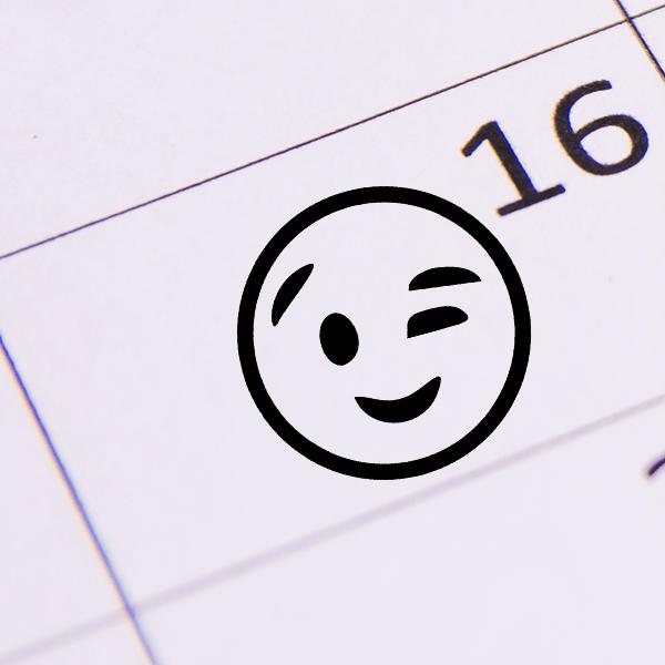 Wink Face Emoji Stamp Imprint Example