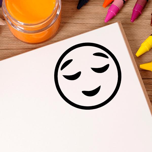 Pleased Face Emoji Stamp Imprint Example