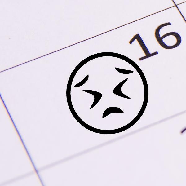 Frustrated Face Emoji Stamp Imprint Example