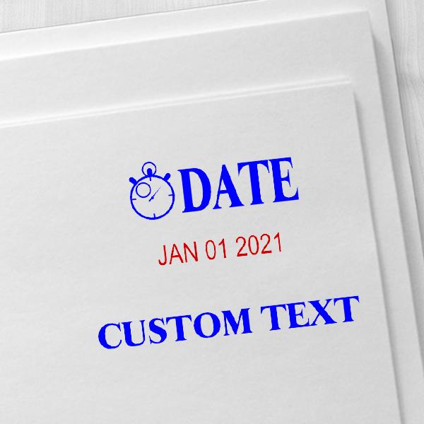 Clock Custom Bottom Line Text Dater Stamp Imprint Example