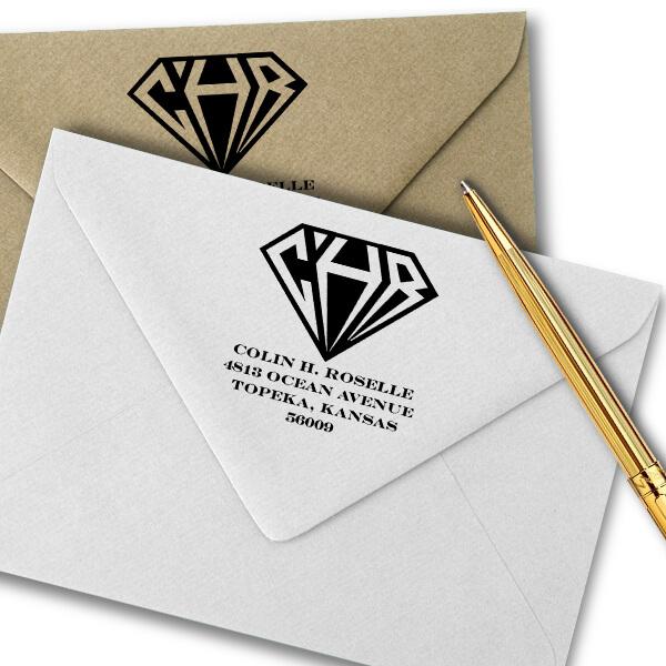 Inverted Diamond Address Monogram Stamp Imprint Example