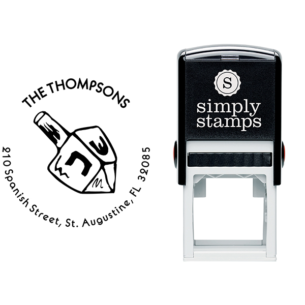 Dreidel Hanukkah Custom Address Stamp Body and Design