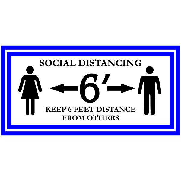 Rectangle Keep 6 Feet Distance Floor Decal