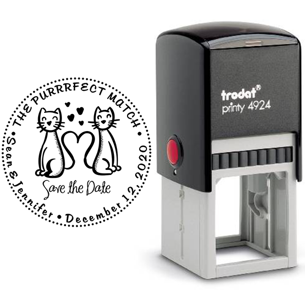 The Purrrfect Match Hearts Save the Date Stamp Body and Design
