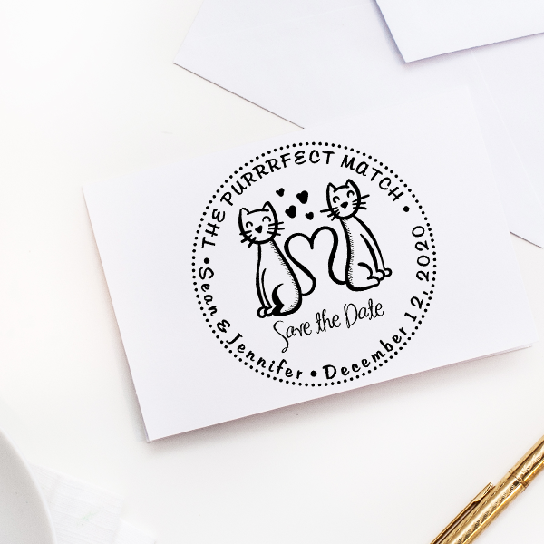 The Purrrfect Match Hearts Save the Date Stamp Imprint Example