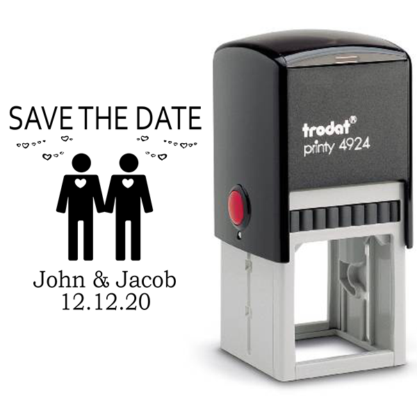 Gay Men Icon Save the Date Stamp Body and Design