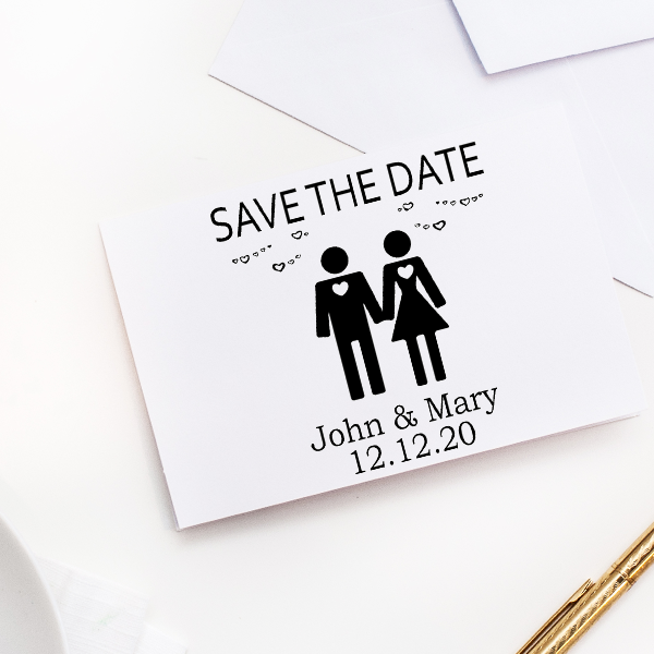 Couple Icon Save the Date Stamp Imprint Example