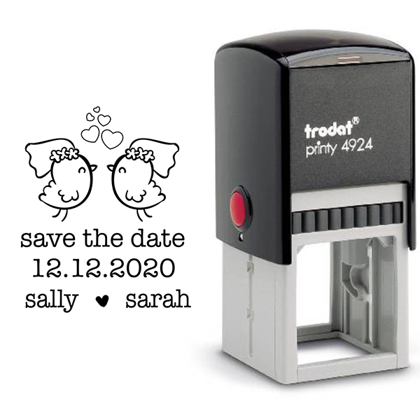 Lesbian Chicks Save the Date Stamp Body and Design