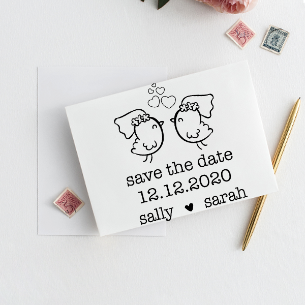 Lesbian Chicks Save the Date Stamp Imprint Example