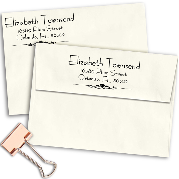 Natural Deco Accent Return Address Stamp Imprint Example on Envelopes