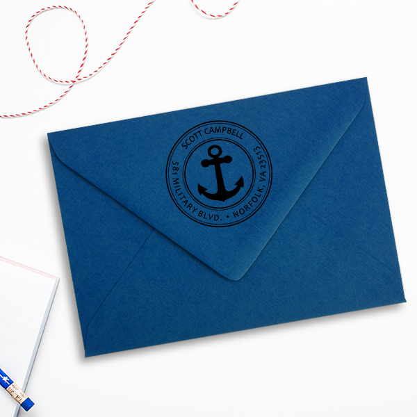 Return Address Navy Anchor Stamp Imprint Example