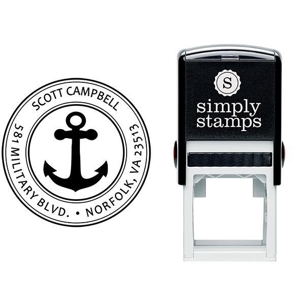 Return Address Navy Anchor Stamp Body and Design