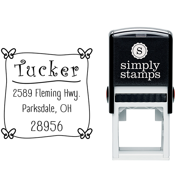 Tucker Butterfly Return Address Stamp Body and Design